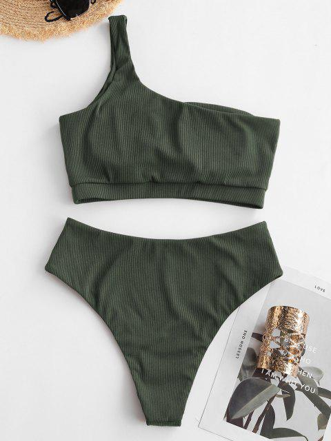 new ZAFUL One Shoulder Ribbed Tankini Swimwear - LIGHT GREEN XL Mobile