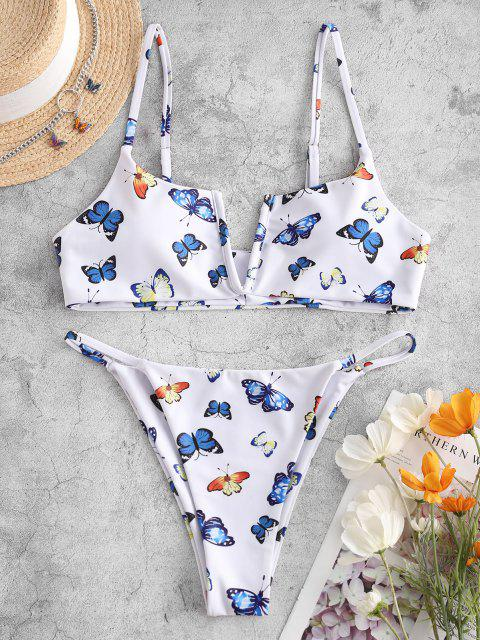latest ZAFUL Butterfly Print V Wired Bikini Swimwear - WHITE S Mobile