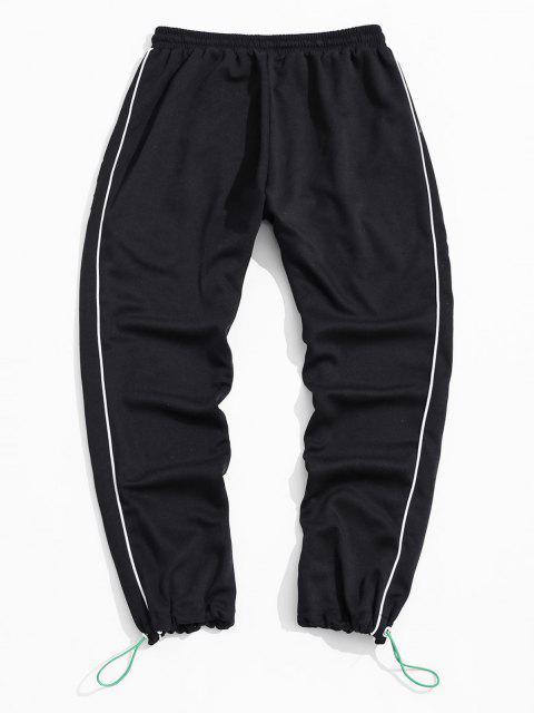 Pantalones Deportivos con Contraste a Rayas - Negro 3XL Mobile