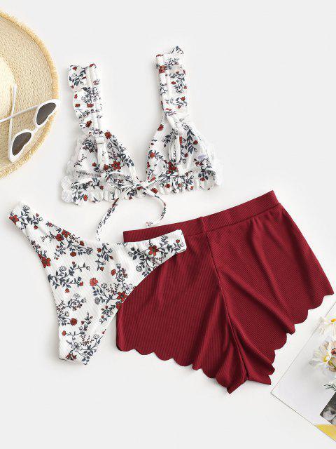 womens ZAFUL Ribbed Flower Print Scalloped Three Piece Bikini Swimwear - MULTI-A L Mobile