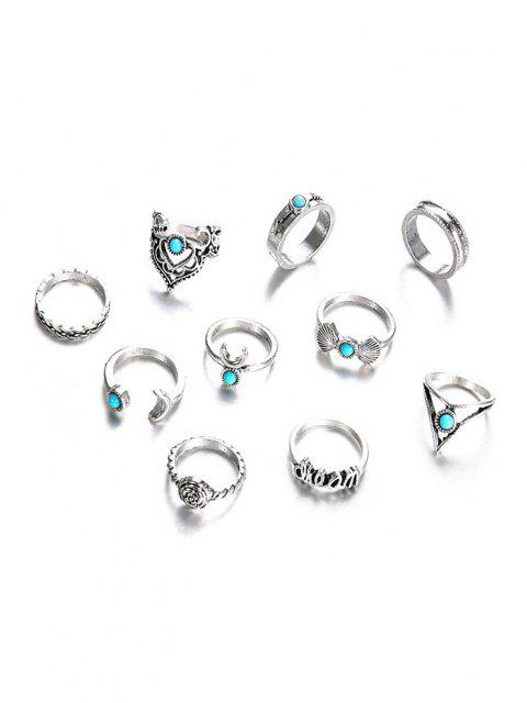 latest 10Pcs Bowknot Floral Turquoise Rings Set - SILVER  Mobile