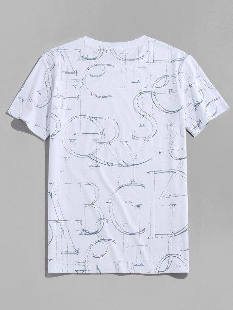 Ink Letter Print Short Sleeve Crew Neck T-shirt - أبيض 2XL Mobile