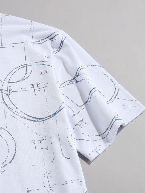 T-shirt Lettre Encre Imprimé Manches Courtes à Col Rond - Blanc XL Mobile