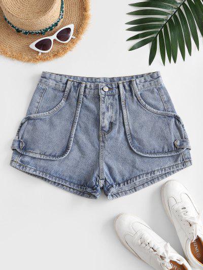 Cotton Jean Shorts - Light Blue M