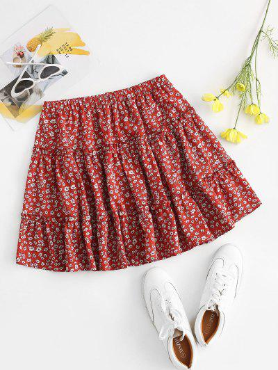 Ditsy Print Tiered Skirt - Red M