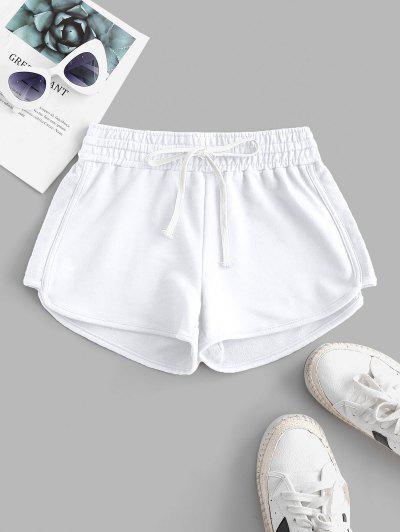 Lounge Drawstring Dolphin Sweat Shorts - White M