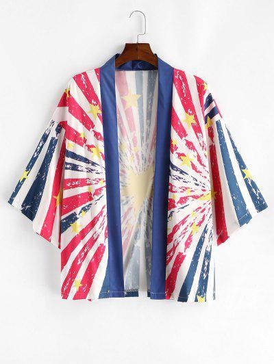 Casual American Flag Print Shirt - Deep Blue M