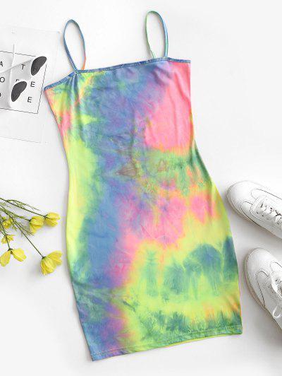 Rainbow Tie Dye Bodycon Dress - Blue S