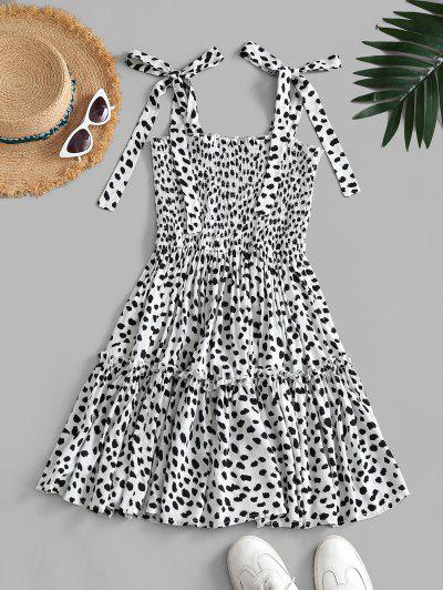 Leopard Tie Shoulder Smocked Tiered Dress - White S