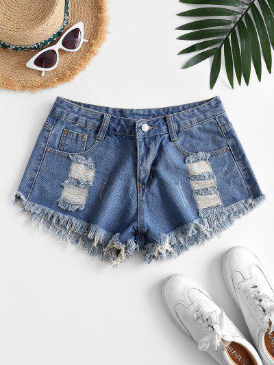 Destroyed Frayed Denim Cutoff Shorts - Light Blue S
