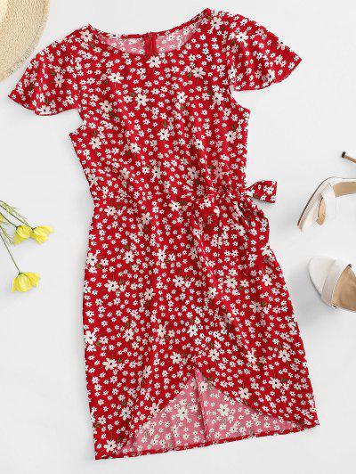 Flutter Sleeve Tie Waist Tiny Floral Dress - Red Xs