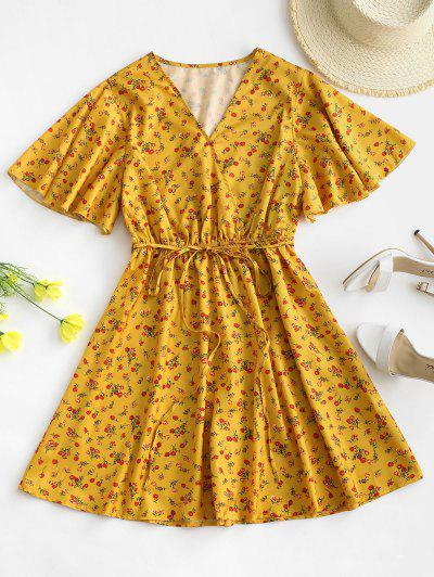 Belted Flutter Sleeve Ditsy Floral Mini Dress - Deep Yellow Xs