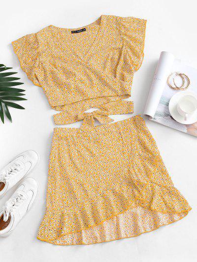 Ditsy Print Ruffle Wrap Two Piece Dress - Yellow S