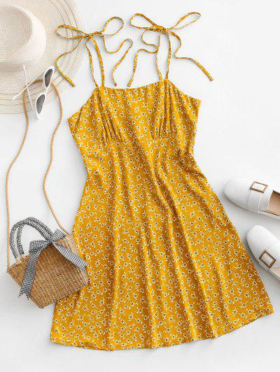ZAFUL Tie Shoulder Tiny Floral Mini Dress - Yellow S
