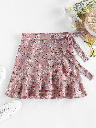 ZAFUL Tiny Floral Print Wrap Skirt - Light Pink S
