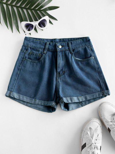 High Waisted Cuffed Hem Denim Shorts - Deep Blue 2xl
