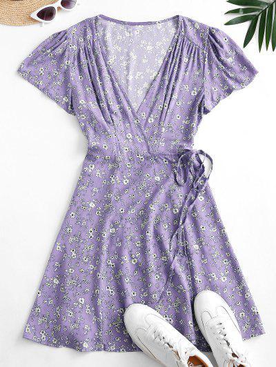 Flutter Sleeve Ditsy Floral Wrap Dress - Light Purple M