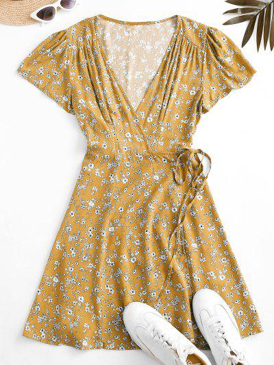 Flutter Sleeve Ditsy Floral Wrap Dress - Yellow S