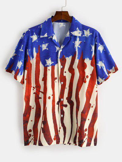 American Flag Printed Short Sleeves Shirt - Blue 2xl