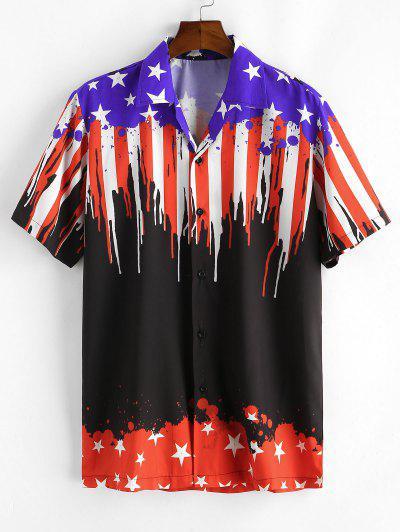 Camisa Casual Con Estampado De Bandera De Estados Unidos - Negro 2xl