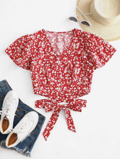 Blusa Corta Con Lazo Y Estampado De Ditsy - Rojo S