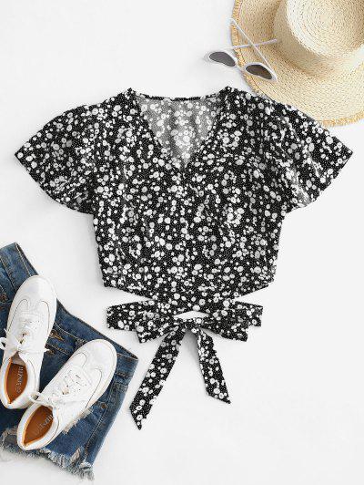 Blusa Corta Con Lazo Y Estampado De Ditsy - Negro S
