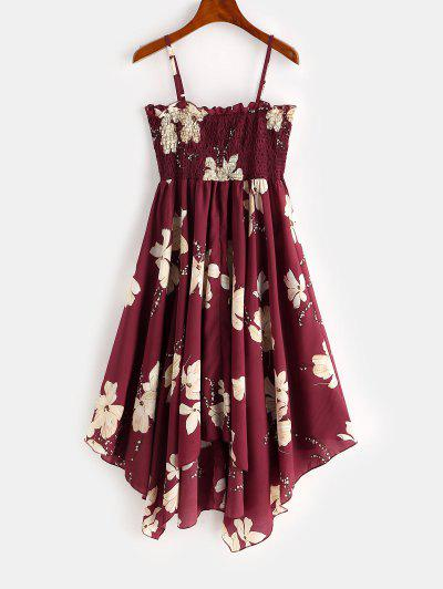 Smocked Floral Cami Dress - Deep Red M