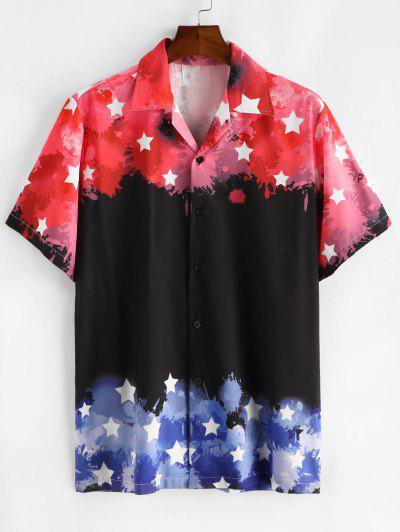 Star Color Blocking Short Sleeves Shirt - Black S