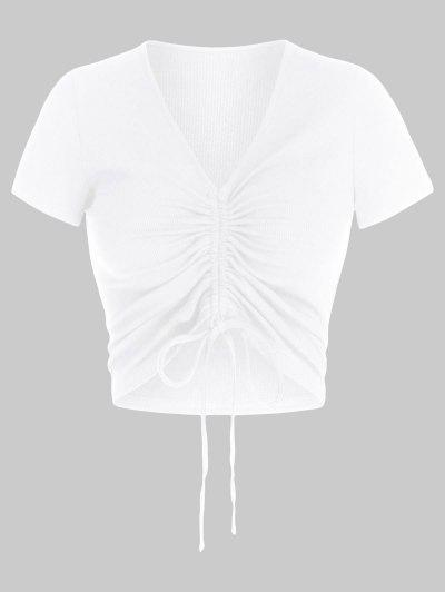 ZAFUL Cinched V Neck Crop T Shirt - White S