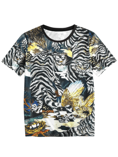 ZAFUL Animal Print Round Neck Oriental T-shirt