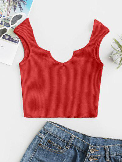 V-notch Ribbed Crop Top - Red S