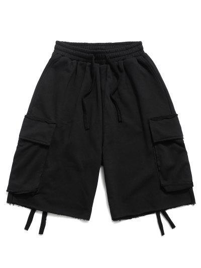 Flap Pocket Solid Drawstring Cargo Shorts - Black M