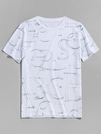 Ink Letter Print Short Sleeve Crew Neck T-shirt - White M