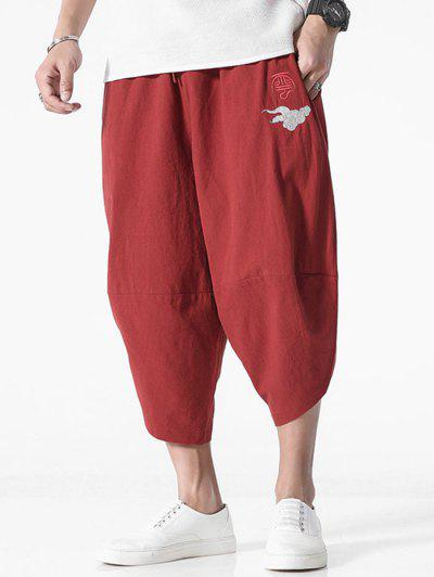 Embroidery Chinese Oriental Cropped Pants - Red Wine 4xl
