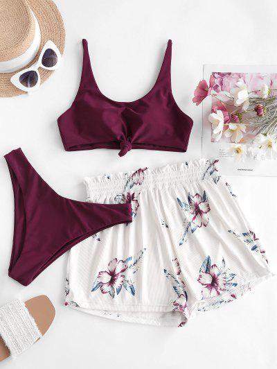 ZAFUL Ribbed Knot Sunflower Three Piece Bikini Swimsuit - Deep Red S
