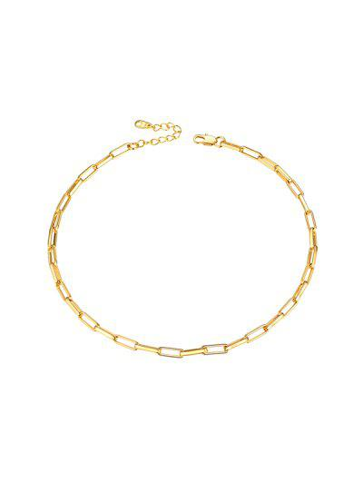 Copper 18K Gold Plated Chain Choker Necklace - Golden
