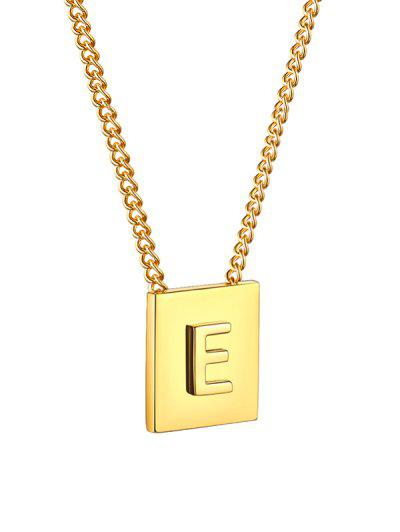 Stainless Steel 18K Gold Plated Square Initial Necklace - Golden E