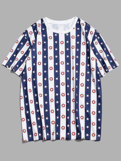 Striped Star Print Casual T-shirt - Cobalt Blue 3xl
