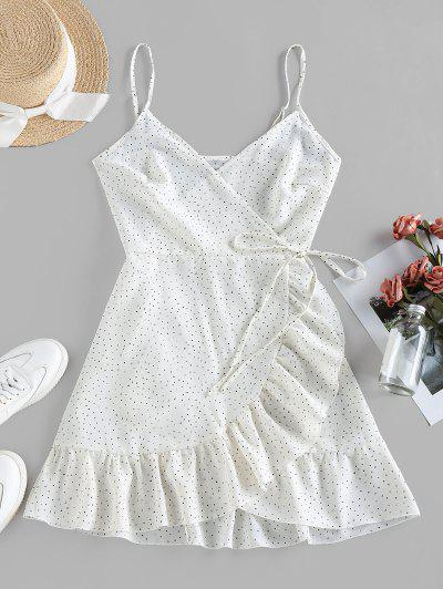 ZAFUL Ditsy Dot Cami Flounce Wrap Dress - White L