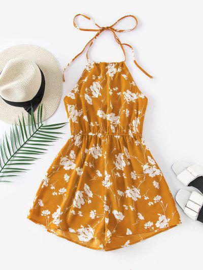 ZAFUL Halter Floral Open Back Romper - Orange Gold S