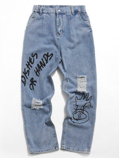 Jeans Rasgados Con Estampado Gráfico De Letras - Azul Denim 2xl