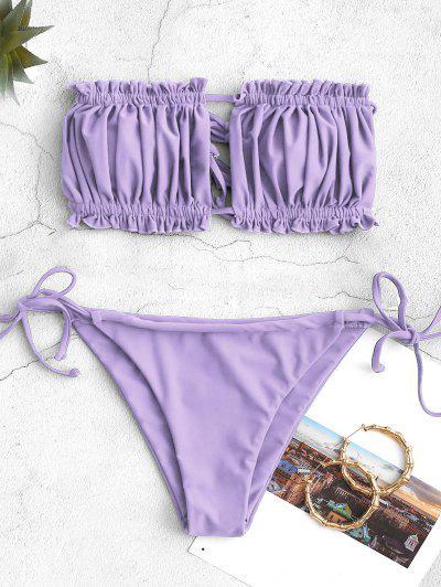 ZAFUL Ruffle Tie Side Low Waisted Bandeau Bikini Swimsuit - Light Purple S
