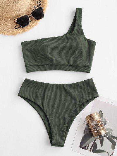 ZAFUL One Shoulder Ribbed Tankini Swimwear - Light Green 2xl