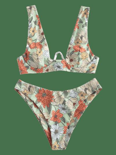 ZAFUL Flower Print Push Up Bikini Swimwear