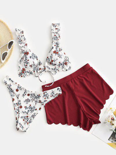 ZAFUL Ribbed Flower Print Scalloped Three Piece Bikini Swimwear - Multi-a S