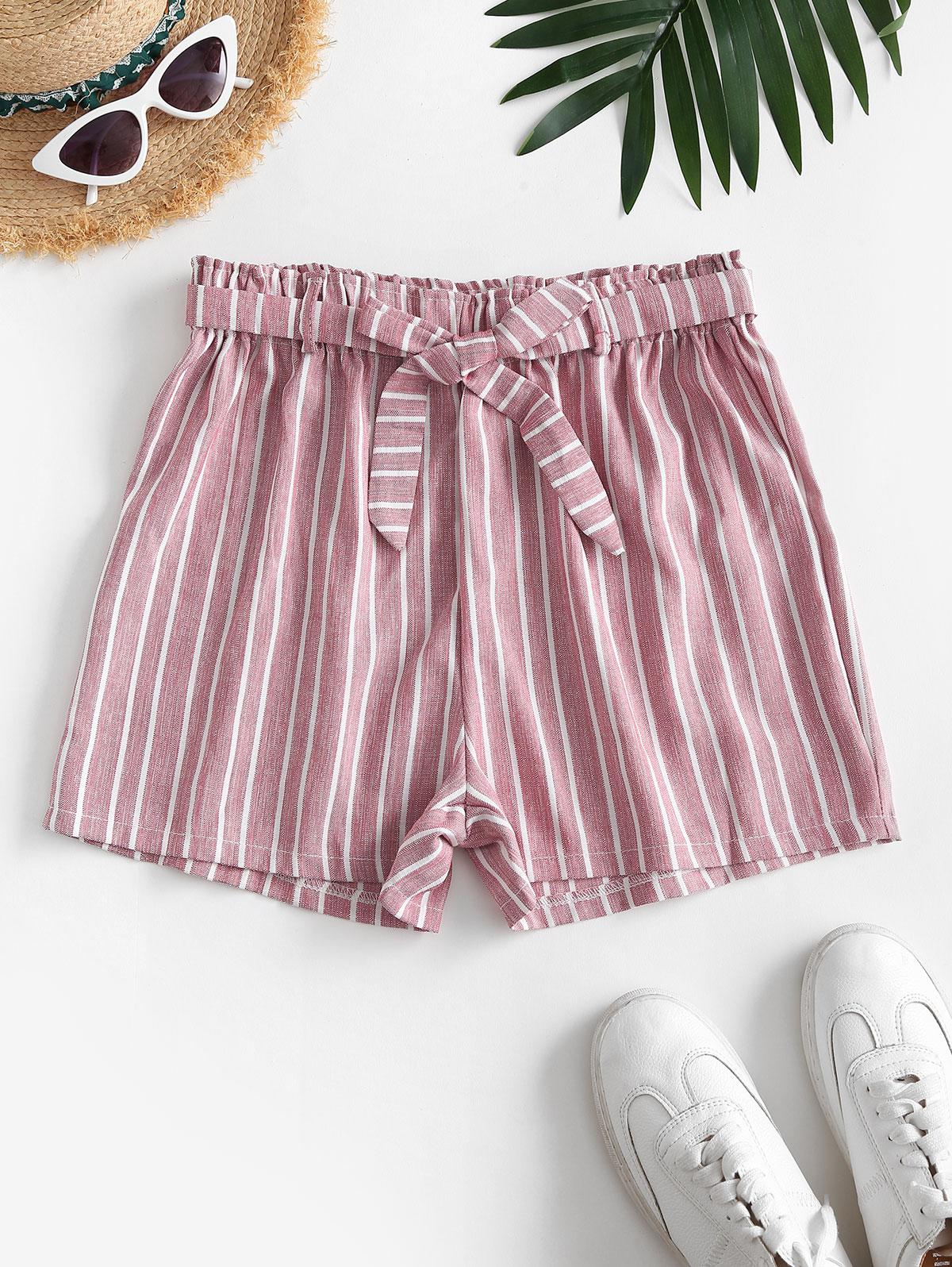 High Waisted Belted Stripes Wide Leg Shorts