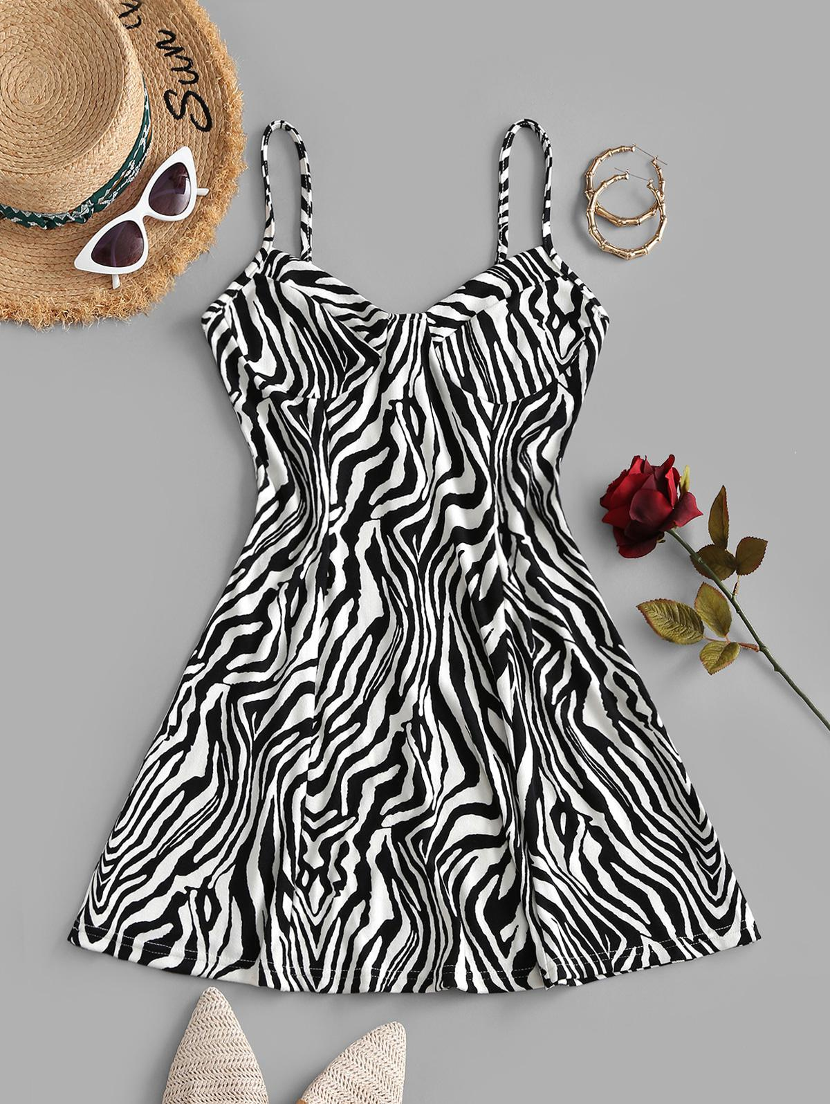 Bustier Zebra Print Cami Dress