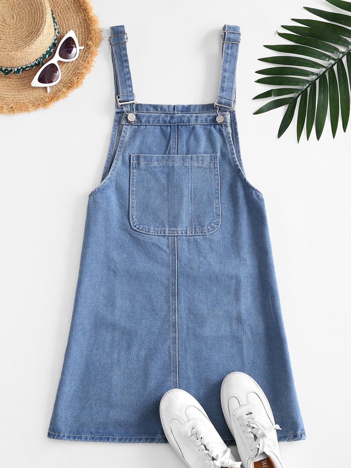 Pockets Denim Mini Overalls Dress