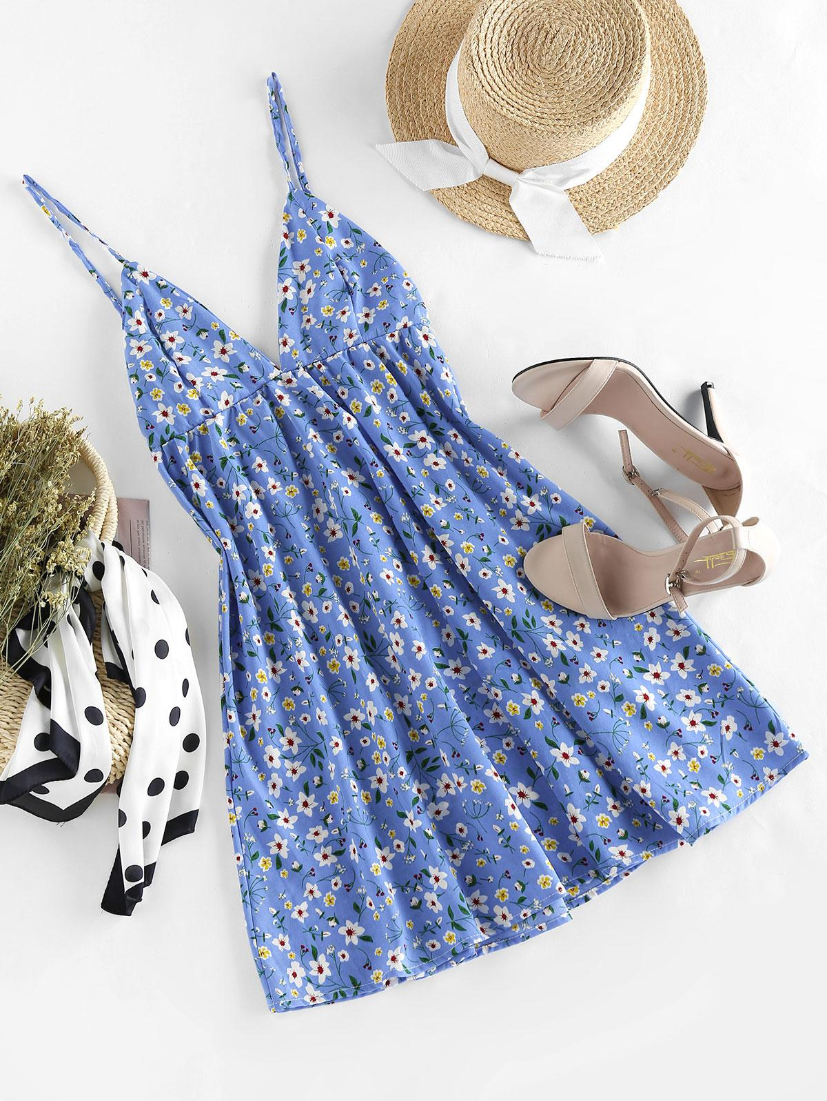 ZAFUL Ditsy Print Cupped Open Back Mini Dress