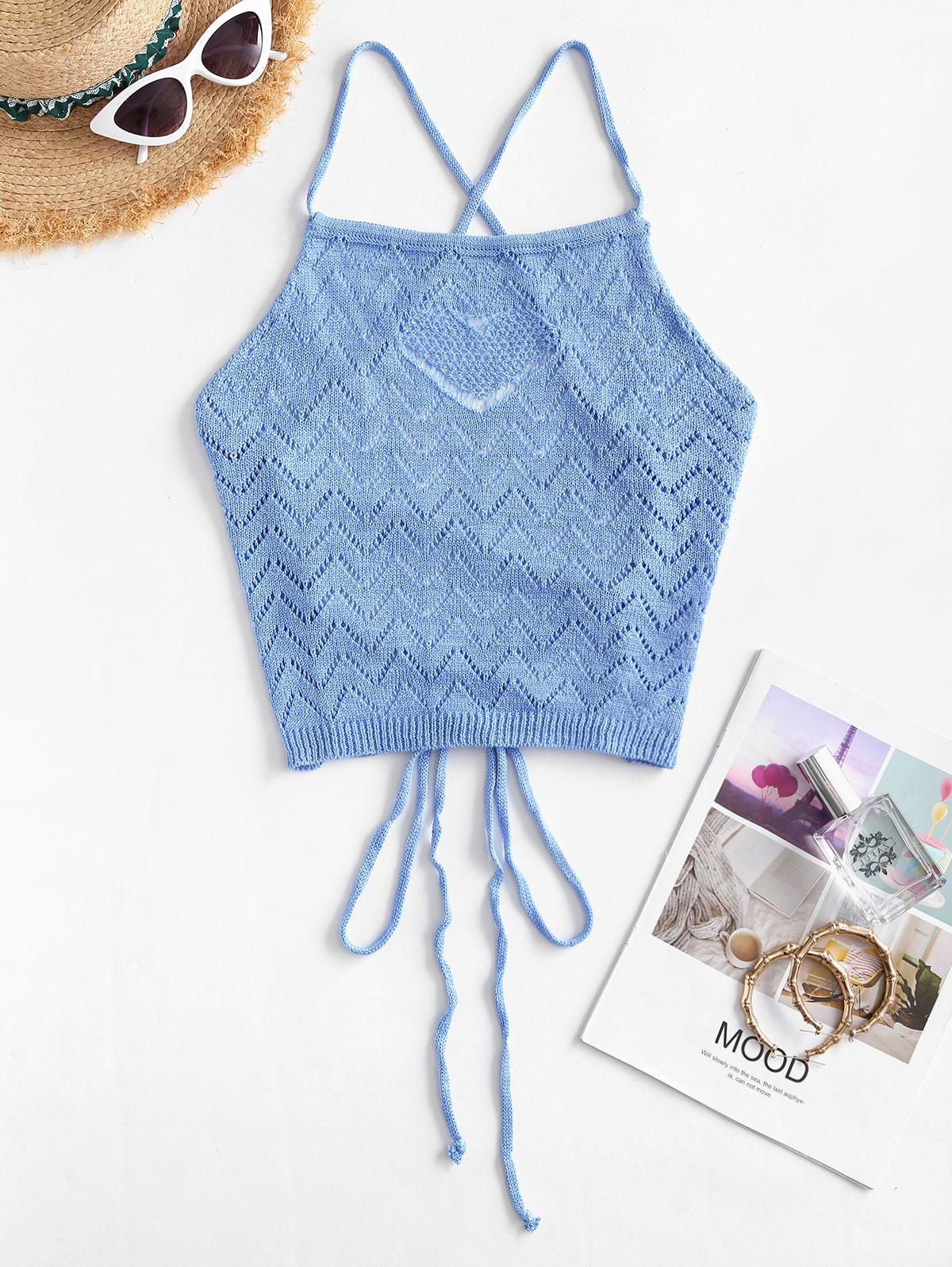 Zig Zag Pointelle Knit Lace Up Top